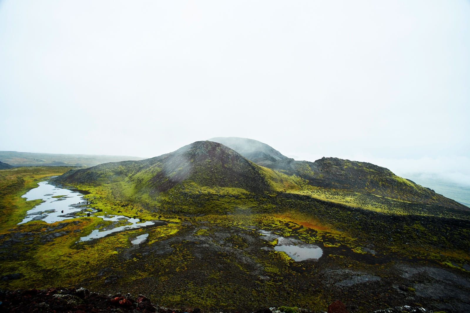 grüne Berglandschaft im schwarzen Vulkangebiet