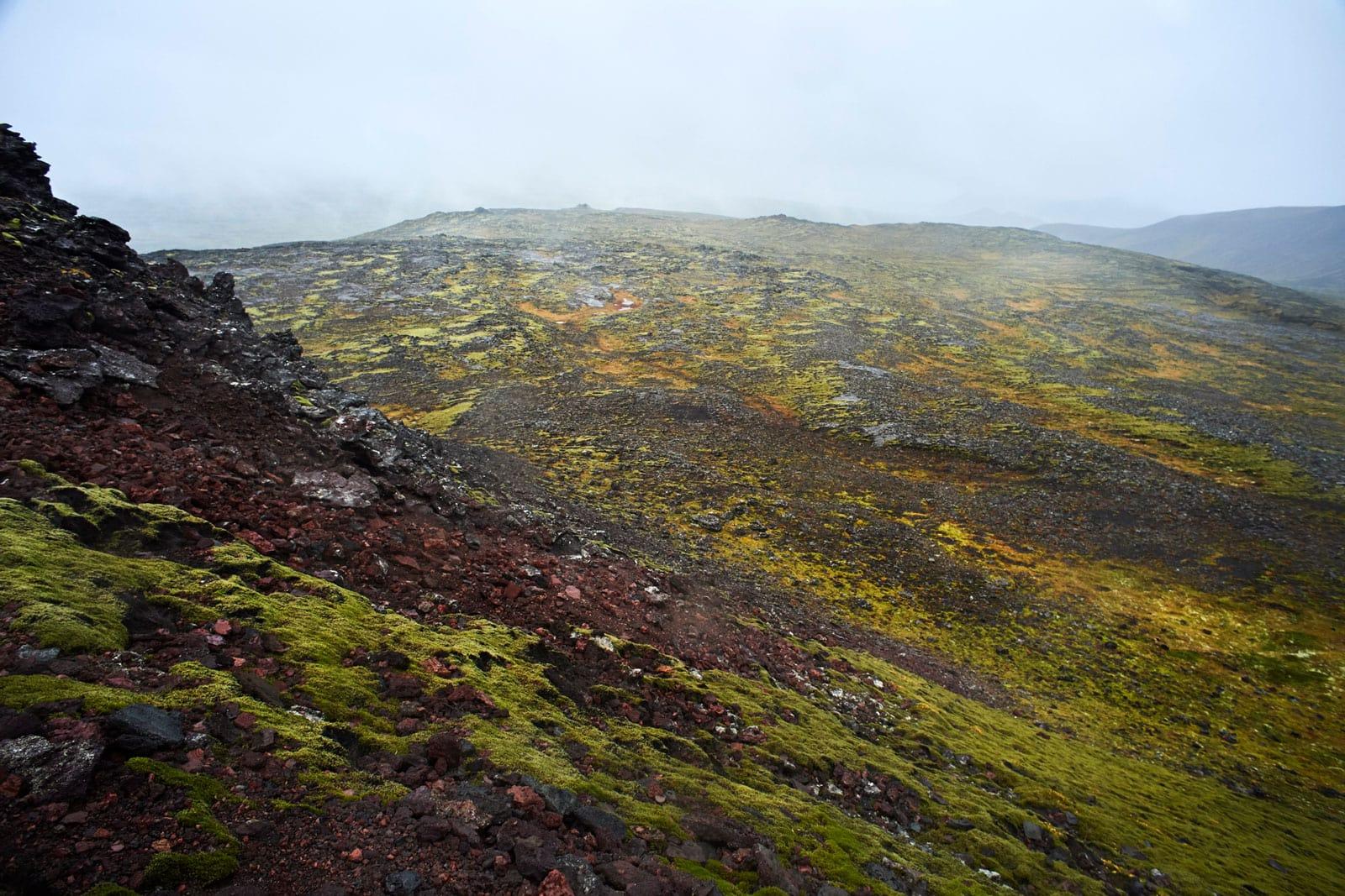 gelbgrün braune Landschaft am fusse eines Vulkans