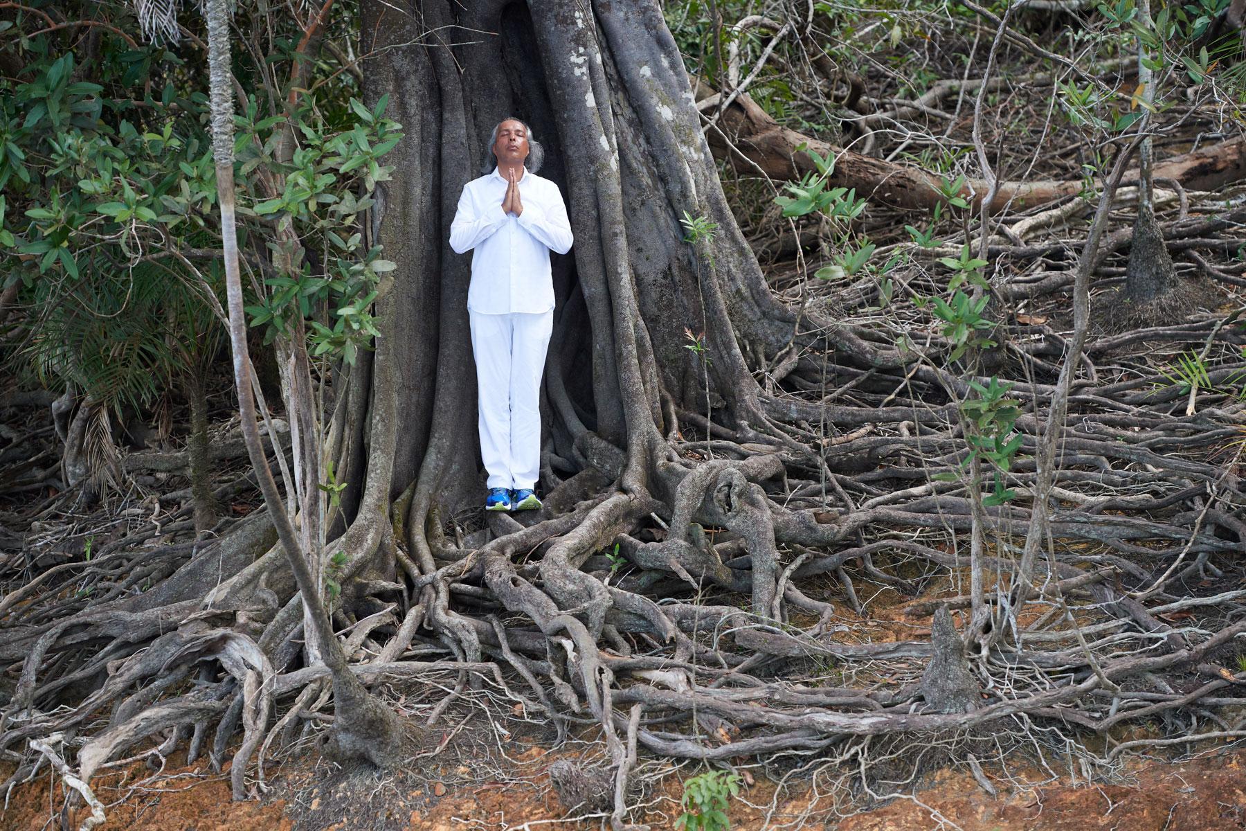 Segnender Mann in weißer Kleidung steht in mitten eines alten Baumes der weite Luftwurzeln hat